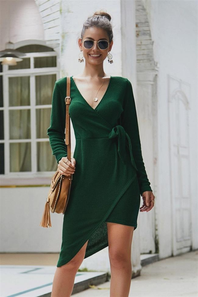Solid Color Irregular Knot Mid Dress