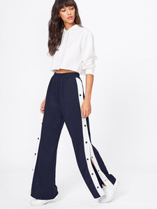 Button Tape Side Wide Leg Pants