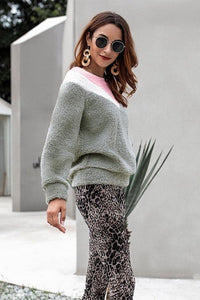 Color Block Round Neck Plush Sweatshirt