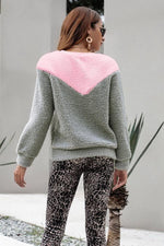 Load image into Gallery viewer, Color Block Round Neck Plush Sweatshirt