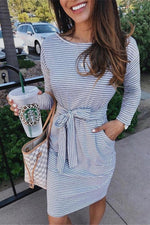 Load image into Gallery viewer, Striped Belt Long-Sleeve Dress