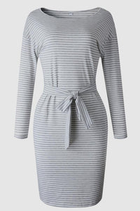 Striped Belt Long-Sleeve Dress