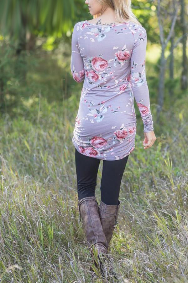Floral Round Neck Long Sleeve T-Shirt