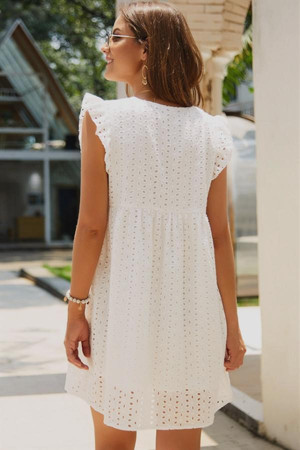 Plain Short Sleeve Lace Dress