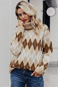Geometrical Turtle Neck Thick Pullover
