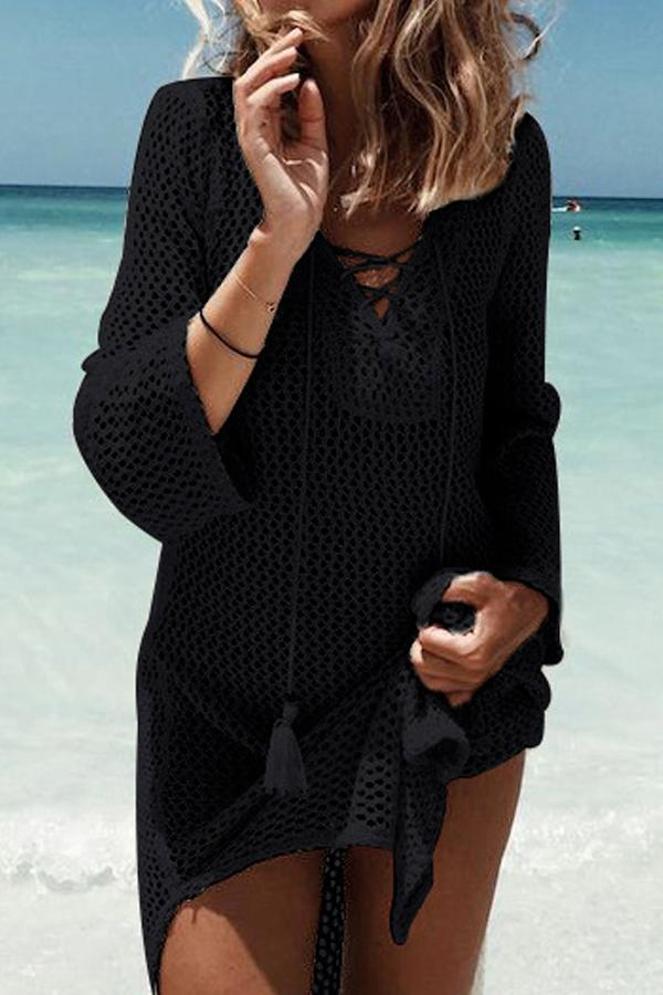 Long Sleeve Stitching Knitted Blouse