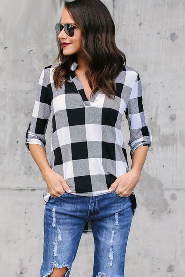 Plaid V Neck Long Sleeve Loose Shirt
