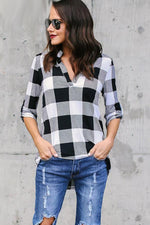 Load image into Gallery viewer, Plaid V Neck Long Sleeve Loose Shirt