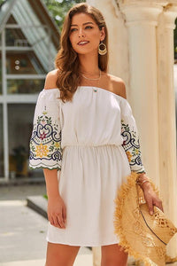 Off The Shoulder Half Sleeve Dress