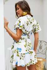 Load image into Gallery viewer, Leaves Print V Neck Wrap Knot Dress