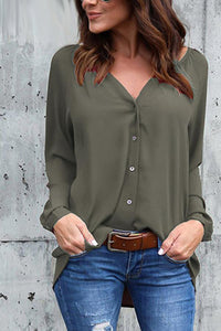 Pure Color V Neck Loose Shirt