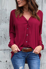 Load image into Gallery viewer, Pure Color V Neck Loose Shirt