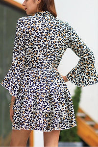 Leopard Thrn-Down Collar Belt Dress