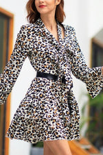 Load image into Gallery viewer, Leopard Thrn-Down Collar Belt Dress