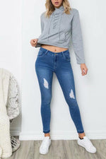 Load image into Gallery viewer, Gray Lace Up Crop Hoodie