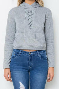 Gray Lace Up Crop Hoodie