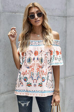 Load image into Gallery viewer, Off Shoulder Vintage Printed Top