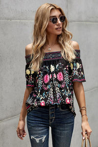Off Shoulder Vintage Printed Top