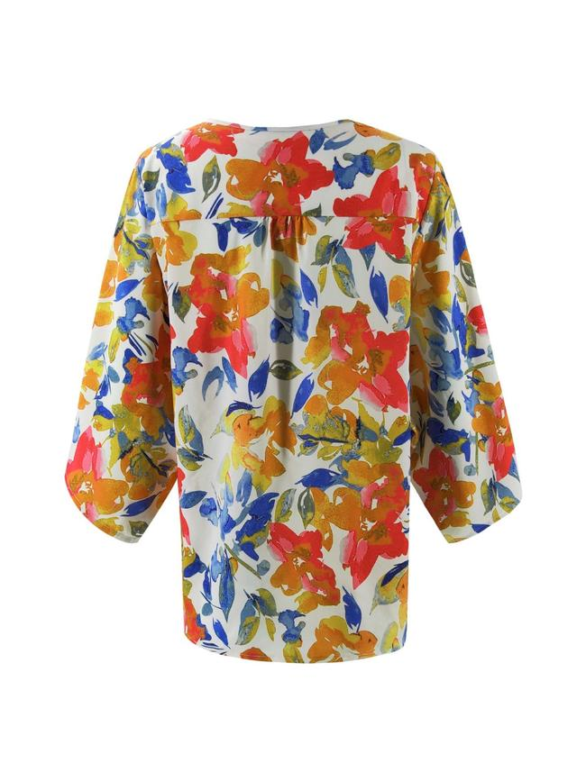 Floral Batwing Sleeve Buttons Top