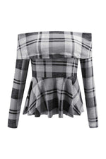 Load image into Gallery viewer, Off The Shoulder Plaid Ruffle Tee