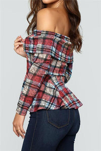Off The Shoulder Plaid Ruffle Tee