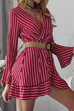 Load image into Gallery viewer, Long Sleeve Striped Mini Dress