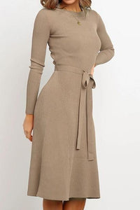 Round Neck Belt Long-Sleeved Dress