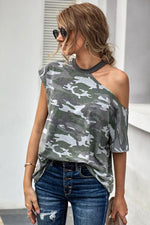 Load image into Gallery viewer, Camouflage Off One Shoulder T-Shirt