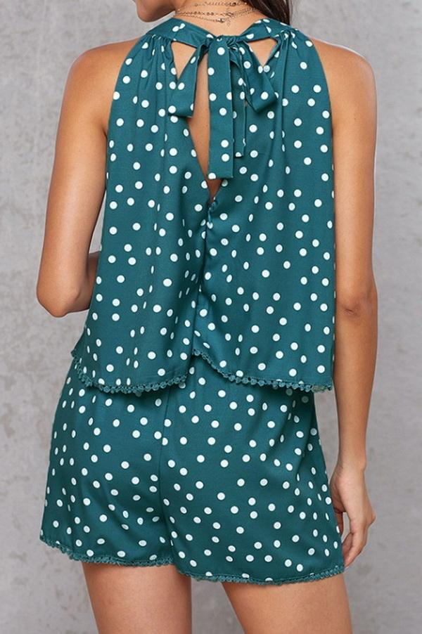 Polka-Dot Loose Floral Casual Jumpsuits