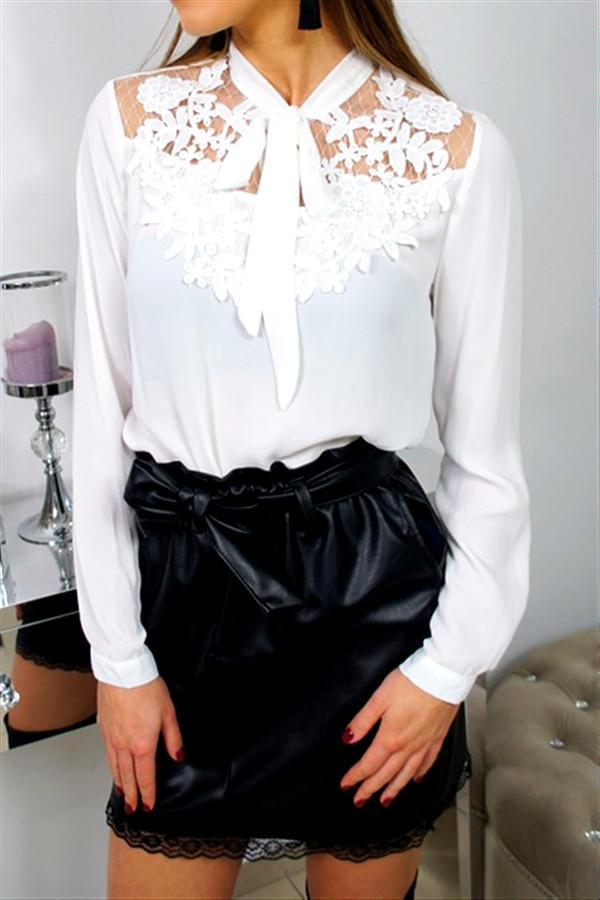 Elegant Lace Up Neck Shirt