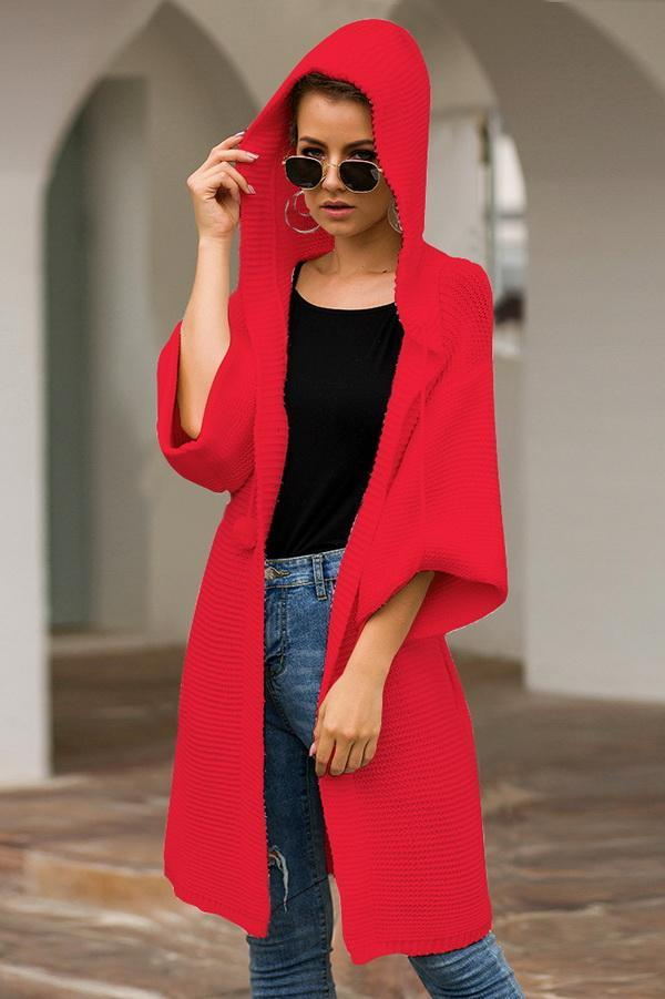 Long Hooded Loose Casual Sweater