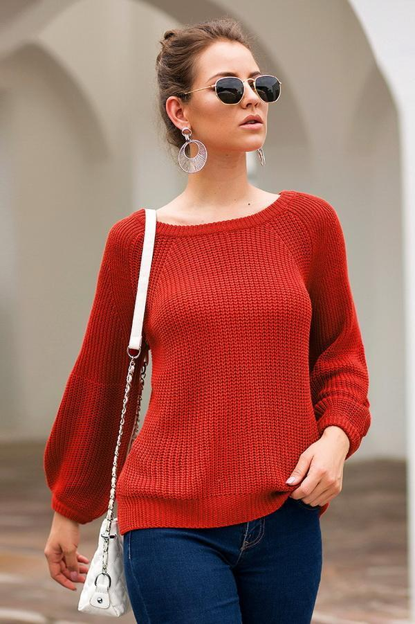 Solid Color Loose Long-Sleeved Sweater