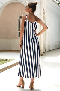 Leisure Striped Sleeveless Loose Dress