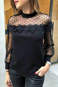 Lace Hollow Out Long Sleeve Top