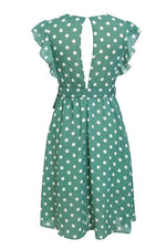 Load image into Gallery viewer, V-Neck Polka Dot Green Ruffle Summer Dress