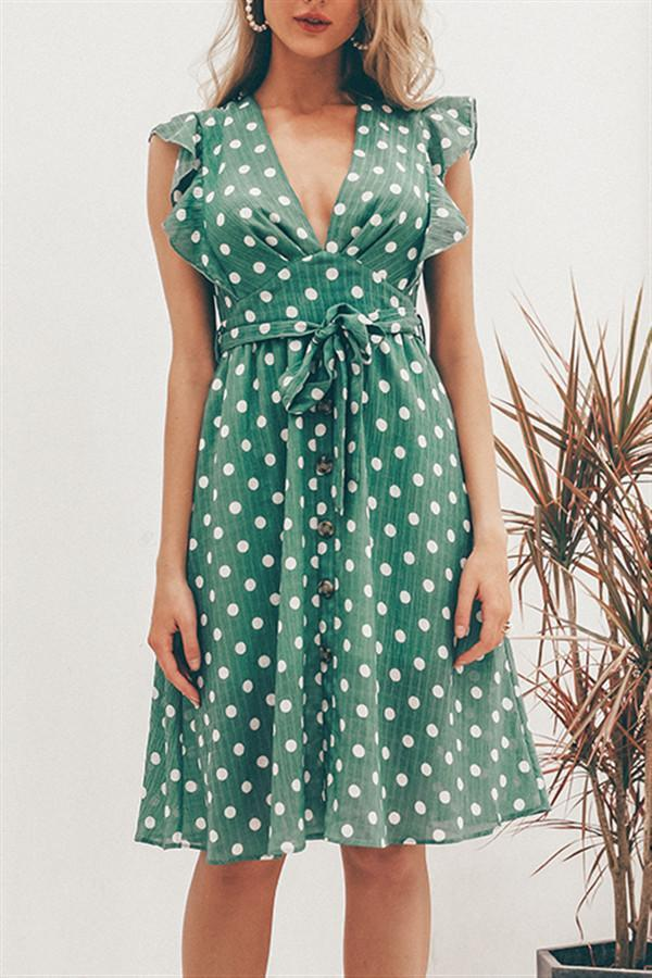 V-Neck Polka Dot Green Ruffle Summer Dress