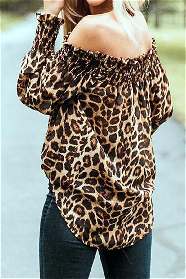 Off The Shoulder Leopard Loose Tee