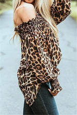 Load image into Gallery viewer, Off The Shoulder Leopard Loose Tee