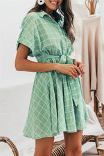 Load image into Gallery viewer, Elegant Plaid Sashes A-Line Dress