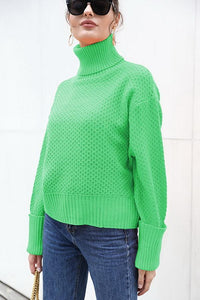 High Collar Solid Color Sweater