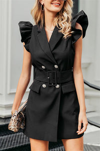 Belted Double Breasted Blazer Dress