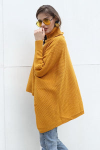 Solid Color High Collar Irregular Sweater
