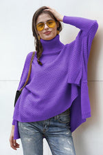 Load image into Gallery viewer, Solid Color High Collar Irregular Sweater