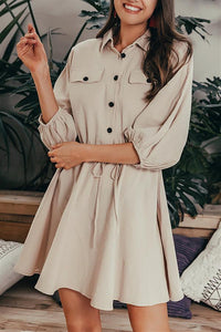 Elegant Linen Lantern Sleeve Shirt Dress