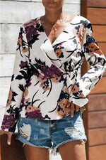 Load image into Gallery viewer, V-Neck Floral Wrap Shirt