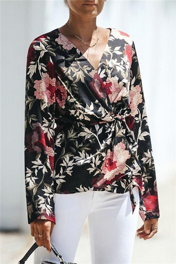 V-Neck Floral Wrap Shirt