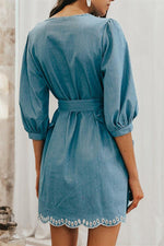 Load image into Gallery viewer, V Neck Embrodiery Denim Dress
