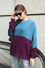 Load image into Gallery viewer, Contrast Color Stitching Lantern Sleeve Sweater