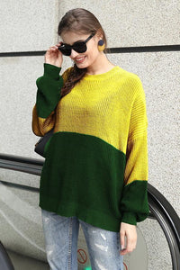Contrast Color Stitching Lantern Sleeve Sweater
