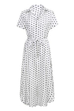Load image into Gallery viewer, Bow Tie V Neck Dot Button Dress